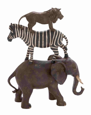Poly Stone African Animals Stack of Elephant, Zebra and Lion - 44727 by Benzara