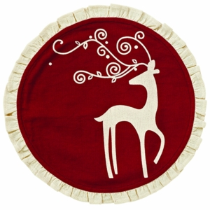 Reindeer Tablemat Ruffled Round Set of 2-13
