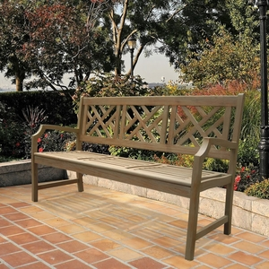Renaissance Outdoor Hand-scraped Hardwood Bench V1302