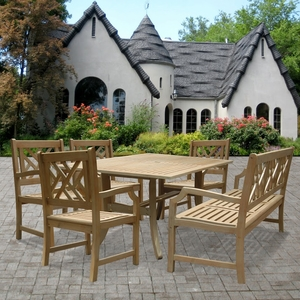 Renaissance Rectangular Table & Arm ChairOutdoor Hand-scraped Hardwood Dining Set 2