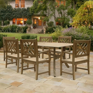 Renaissance Rectangular Table & Arm ChairOutdoor Hand-scraped Hardwood Dining Set 3