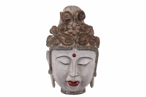 Resin Buddha Head with Rounded Ushnisha and Red Urna - Beige