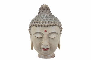 Resin Buddha Head with Rounded Ushnisha and Red Urna - cream