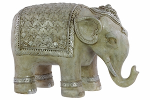 Resin Persian Elephant Figurine Large Matte Beige