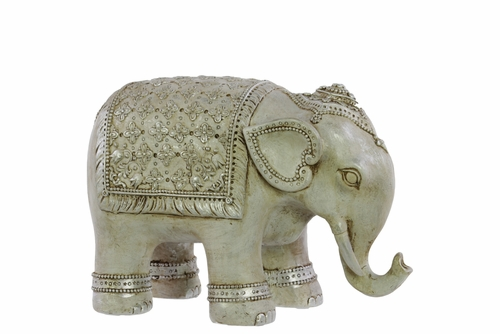 Buy Resin Persian Elephant Figurine Small Matte Beige At