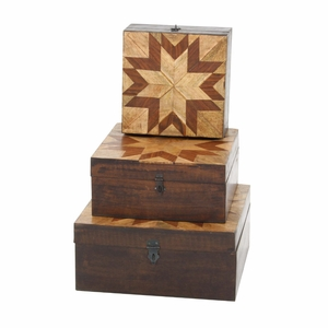 Resplendant Pattern Parque Box In Wood, Set Of 3 - 96095 by Benzara