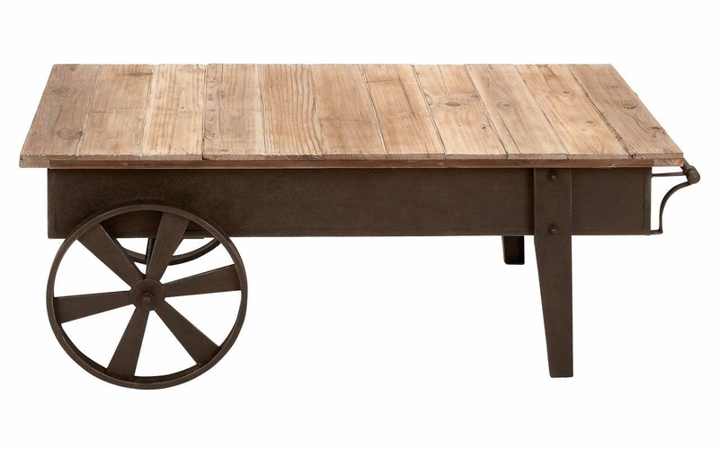 Benzara 55815 Restoration Coffee Table With Reclaimed Wood And Iron Body At Wildorchidquilts Net