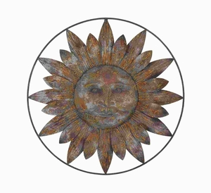 Metal Sun wall decor with Casual Setups - 93707 by Benzara