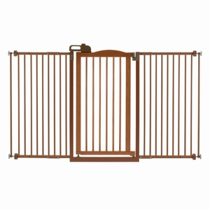 Richell One-Touch Tall and Wide Pressure Mounted Pet Gate II Brown