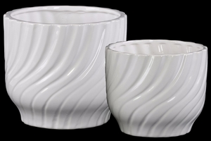 Rippled Round Pot with Tapered Bottom Set of Two- White- Benzara