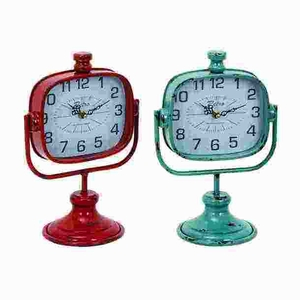 Durable Metal Clock In Red And Green Color - Set Of 2 - 34895 by Benzara