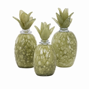 Rolanda Glass Pineapples With Stoppers - Set Of 3