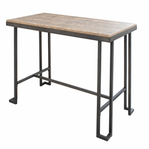 Roman Industrial Counter Table with Wooden Top and Antique Frame by LumiSource