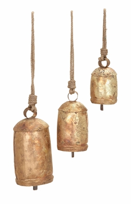 Metal Rope Cow Bell Set/3 Unique Home Accents - 26719 by Benzara
