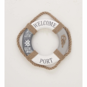 Rope Life Ring Wall Decor, Polyuthrane, White And Brown - 98853 by Benzara