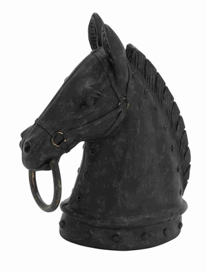 Decorative Poly Stone Horse Head with Hammered Nail Pattern - 44723 by Benzara
