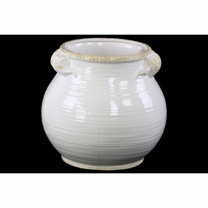 Round Bellied Tuscan Pot with Handles- Large- White- Benzara