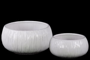 Round Flower Pot with Ribbed Side Set of Two - White - Benzara