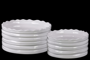 Round Flower Pot with Wave Pattern Mouth Set of Two - White - Benzara