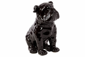 Round in shape Ceramic Dog Black