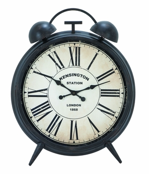 Corrosion Resistive Round Metal Clock With Antiqued Finish - 20200 by Benzara