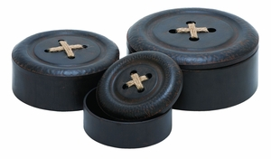 Aesthetic Design Metal Box Container In Round Shape - Set Of 3 - 20202 by Benzara