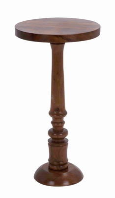 Sturdy Construction Wooden Round Shaped Pedestal Table - 28703 by Benzara