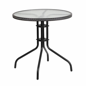 Round Tempered Glass Table Black, Gray - TLH-087-GY-GG by Flash Furniture