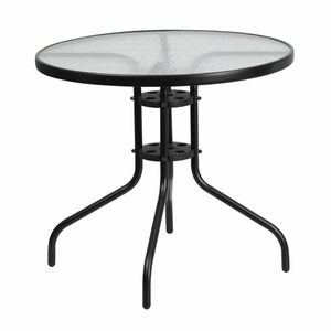 Round Tempered Glass Table Black - TLH-070-2-GG by Flash Furniture