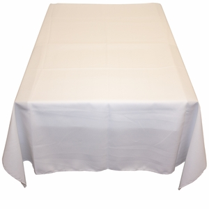 Round White Polyester Poplin Tablecloth by TAIB