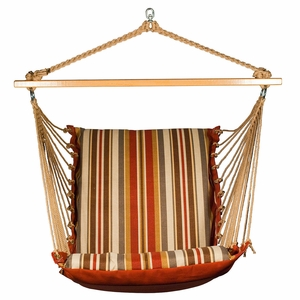 Roxen Stripe Nutmeg or Burnt Orange Soft Comfort Cushion Hanging Chair by Algoma