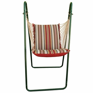 Roxen Stripe Nutmeg or Burnt Orange Swing Chair and Stand Combination by Algoma