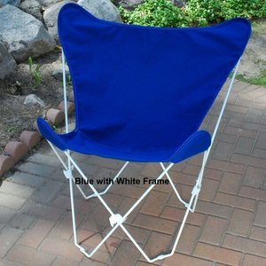 Royal Blue Fabric Comfortable Foldable Butterfly Chair by Algoma