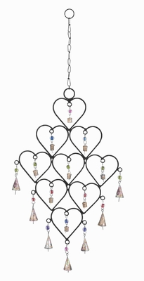Rust Resistant Metal Heart Wind Chime With Artistic Design - 26759 by Benzara