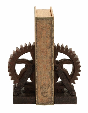 Rusted Gear Themed Book End Set - 55642 by Benzara