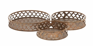 Rustic And Simple Metal Tray Set Of 3 - 27557 by Benzara