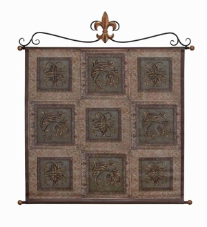 """Rustic Leather Wall Hanging W Metal Scroll 45""""x42""""  by Benzara"""