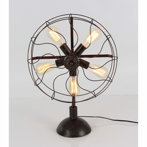 Rustic Metal Fan Light With Bulb - 84239 by Benzara
