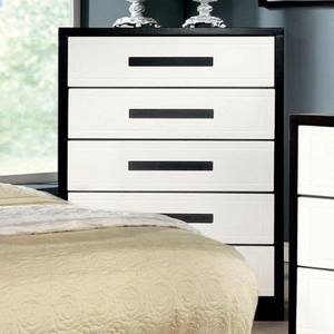 Rutger Contemporary Style Chest, White And Black