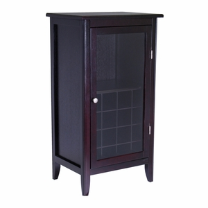 Ryan 16-Bottle One Door Wine Cabinet With Glass Rack by Winsome Woods