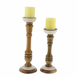 Rylee Candle Holder In Wood With Marble Base, Set Of 2 - 94553 by Benzara