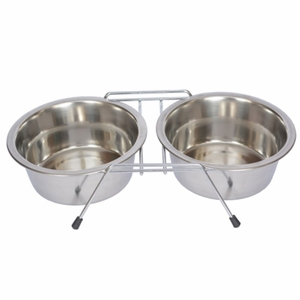S. Steel Double Diner with Wire Stand for Dog or Cat - 1/2 Pt - 8 oz - 1 cup