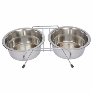 S. Steel Double Diner with Wire Stand for Dog or Cat - 1 Pt - 16 oz - 2 cup