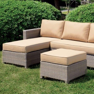 Sabina Contemporary Patio Sectional With Ottoman, Tan & Dark Gray