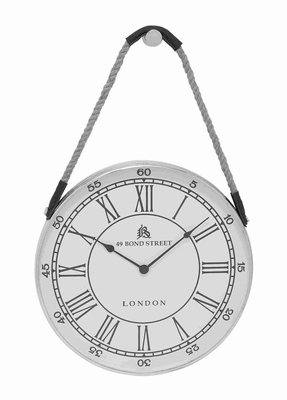 Metal Hanging Wall Clock With Attached Rope Fitted With Leather Straps (Large) - 27867 by Benzara