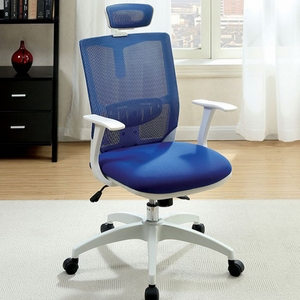 Sargas Contemporary Office Chair, Blue & White Finish