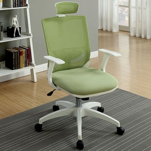 Sargas Contemporary Office Chair, Green & White Finish