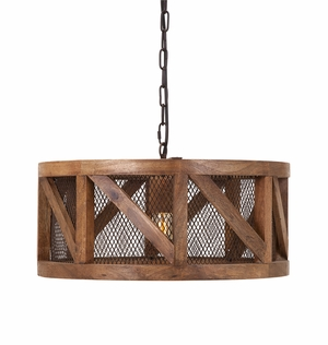 Scintillating Kennedy Wood and Wire Pendant Light