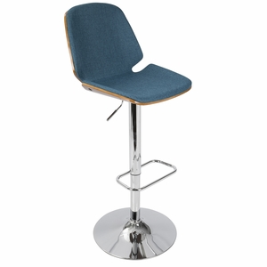 Serena Mid-Century Modern Barstool in Blue Fabric and Walnut Wood by LumiSource