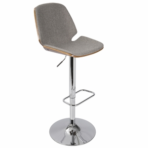 Serena Mid-Century Modern Barstool in Grey Fabric and Walnut Wood by LumiSource